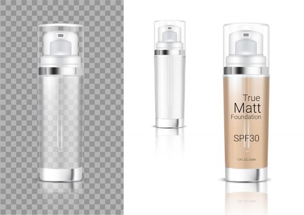 Mock up realistic transparent pump bottle cosmetic Premium Vector