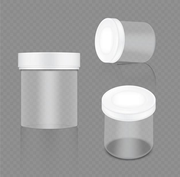 Mock up realistic transparent white jar Premium Vector