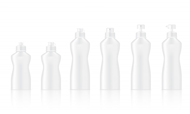 Mock up realistic white bottle for dish washing and cosmetic Premium Vector