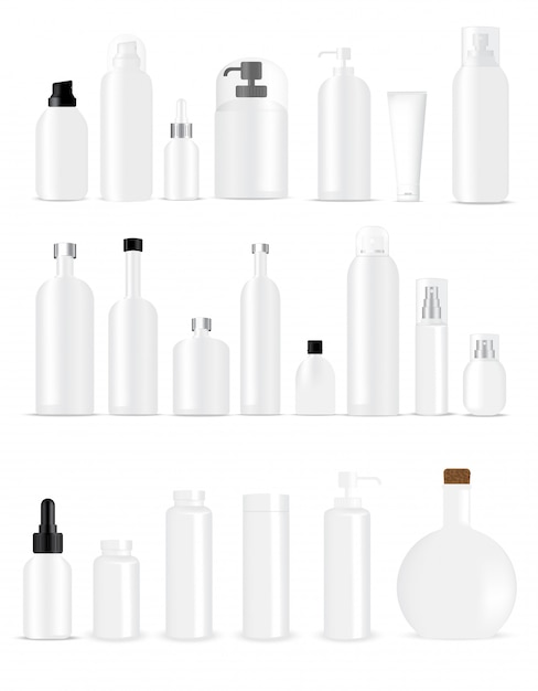 Mock up realistic white bottles for skincare product packaging Premium Vector