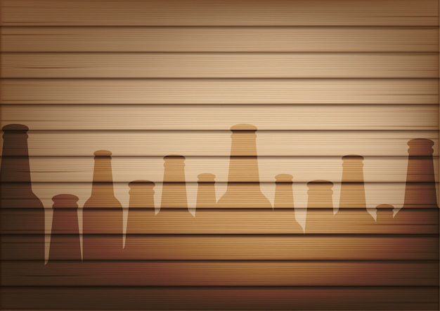Mock up realistic wood and beer bottle glass shadow Premium Vector