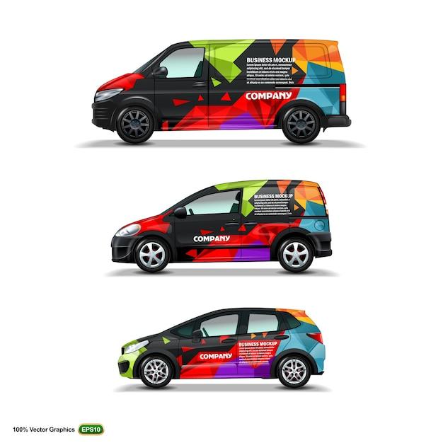 Mock up set with advertisement on black car Premium Vector