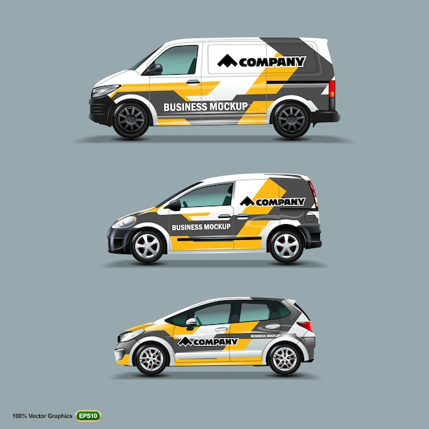 Mock up set with advertisement on white car Premium Vector