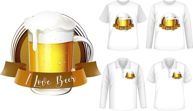 ビールのロゴが入ったシャツのモックアップ 無料ベクター