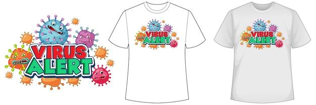 コロナウイルスのアイコンが付いたシャツのモックアップ 無料ベクター