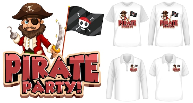 Mock up shirt with pirate party icon Free Vector