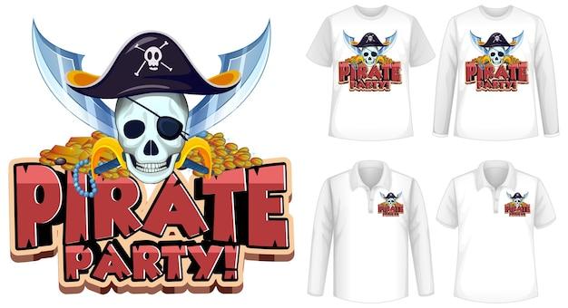 Футболка с изображением пиратской вечеринки Бесплатные векторы
