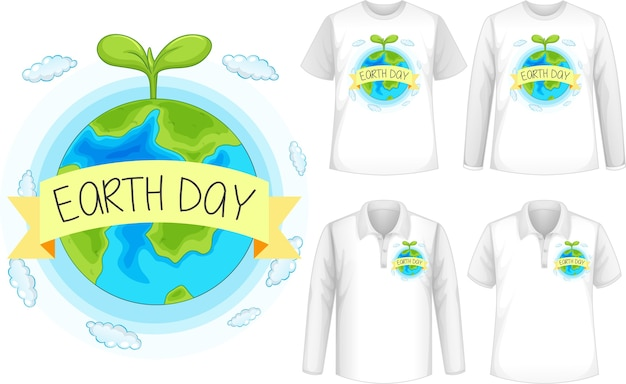 Mock up shirt with planet icon Free Vector
