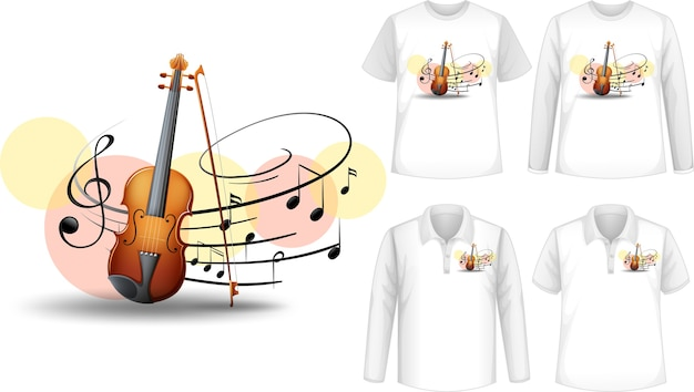 Mock up shirt with violin music instruments logo Free Vector