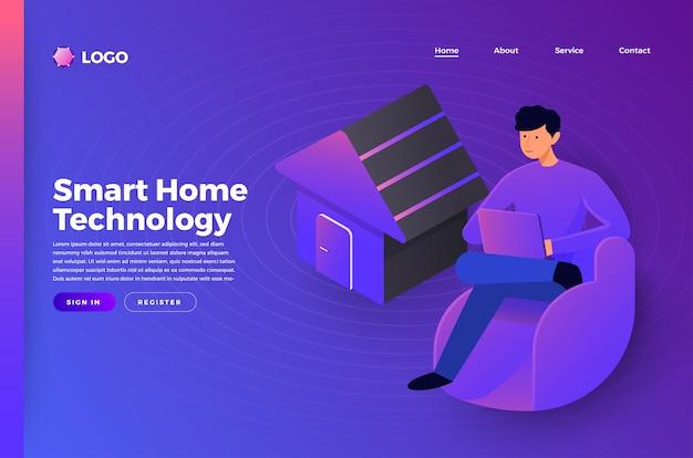 スマートホームテクノロジーをつなぐモックアップウェブサイトのランディングページのコンセプト。説明します。 Premiumベクター