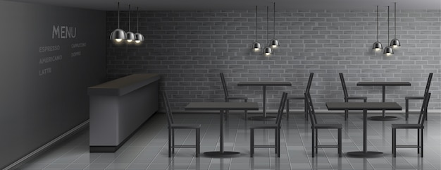 Mockup of cafe interior with empty bar counter, dinner tables and chairs, ceiling lamps Free Vector