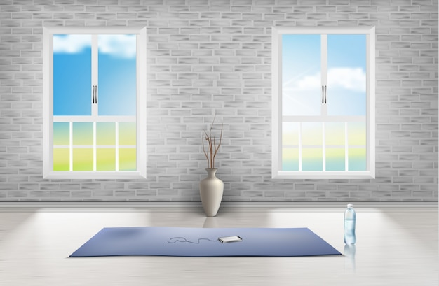 Mockup of empty room with brick wall, two windows, blue carpet, vase and bottle of water Free Vector