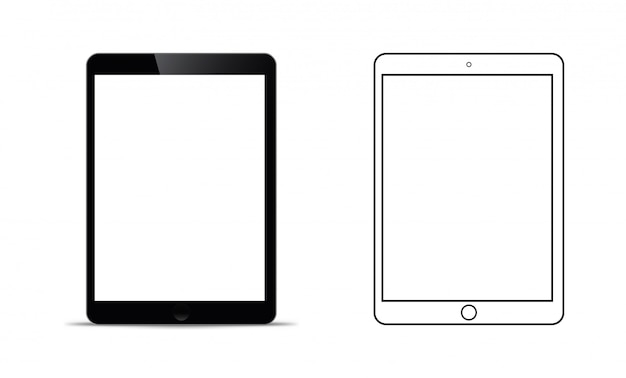 Mockup in front of a black tablet that looks realistic Premium Vector