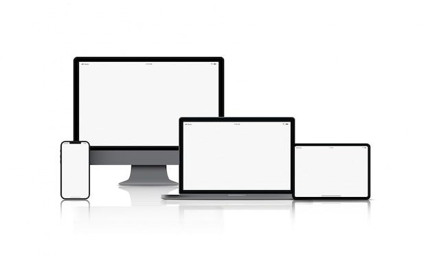 Макет гаджета устройства. смартфоны, планшеты, ноутбуки и компьютерные мониторы черного цвета с пустым экраном изолированы Premium векторы