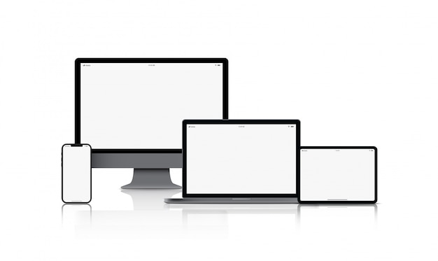 Mockup gadget device. smartphones, tablets, laptops and computer monitors black color with blank screen isolated Premium Vector