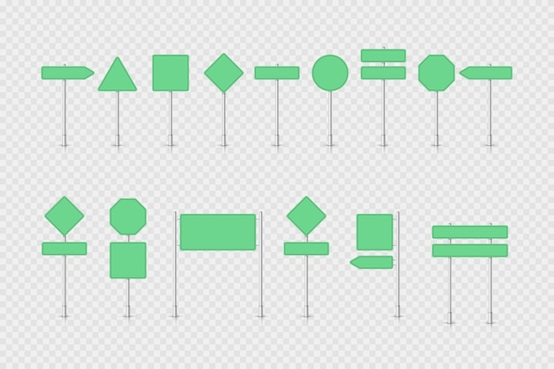 Mockup green traffic sign isolated Premium Vector