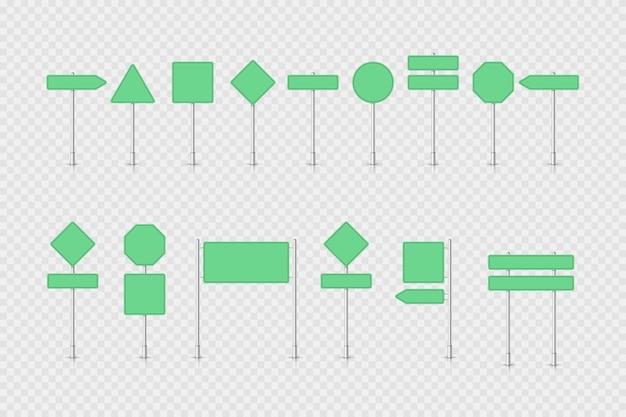 Макет зеленый дорожный знак изолированные Premium векторы