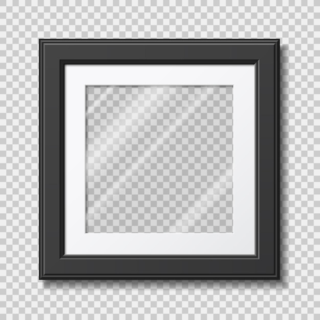 Mockup modern frame for photo or pictures with transparent glass Premium Vector