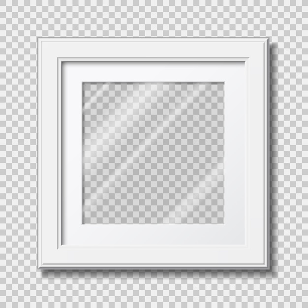 Mockup modern wooden frame for photo or pictures with transparent glass Premium Vector