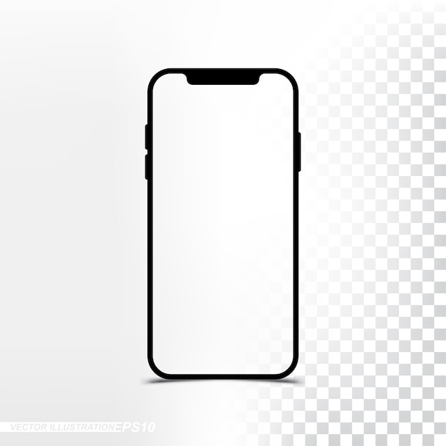Mockup new version smartphone with transparent screen and background Premium Vector