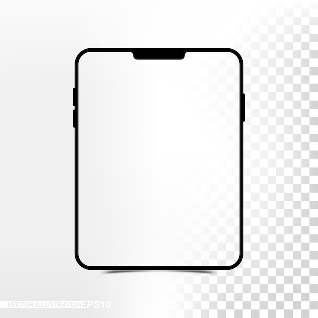 Mockup new version tablet with transparent screen and background Premium Vector