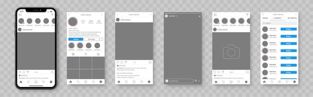 소셜 네트워크의 모형. 소셜 미디어 앱용 스마트 폰 템플릿입니다. 소셜 네트워크 인터페이스 앱. 프리미엄 벡터