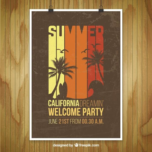 夏の党のポスターのモックアップ 無料ベクター