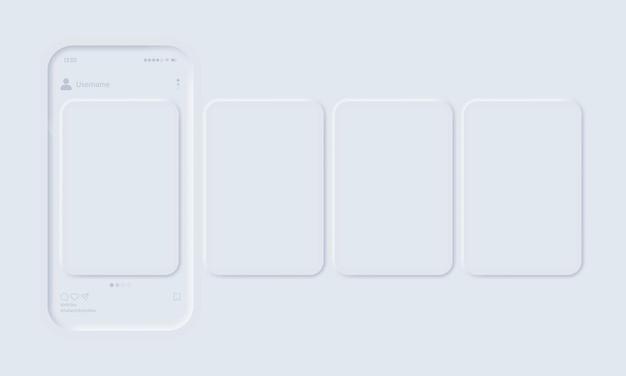 오픈 포토 소셜 네트워크가있는 모바일 앱 모형 프리미엄 벡터