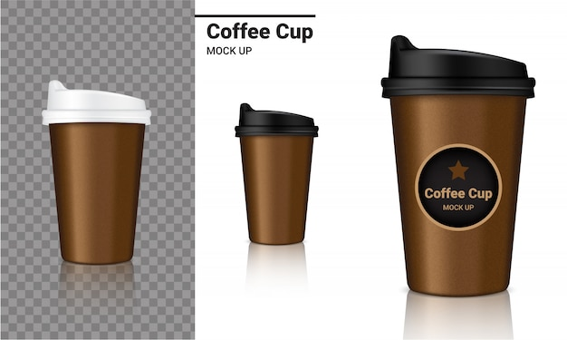 Mockup realistic coffee cup packaging product Premium Vector