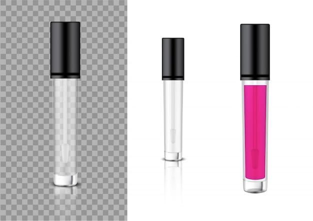 モックアップリアルな透明ボトル化粧品リップグロスバーム、コンシーラー、スキンケア製品包装用オイル Premiumベクター