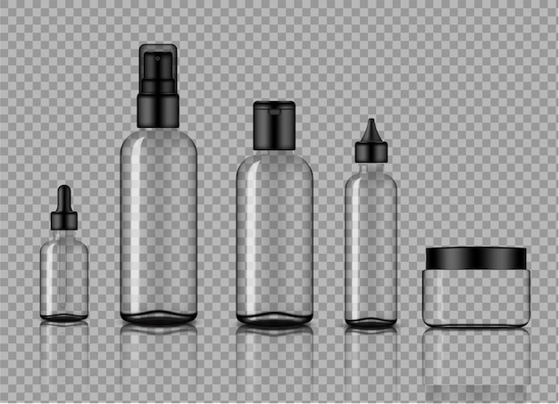 Mockup realistic transparent glass dropper and spray bottle skincare product Premium Vector