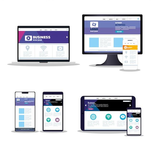 모형 반응 형 웹, 전자 장치 세트의 개념 웹 사이트 개발 프리미엄 벡터