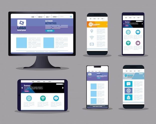 Mockup 반응 형 웹, 컨셉 웹 사이트 개발, 전자 장치 프리미엄 벡터