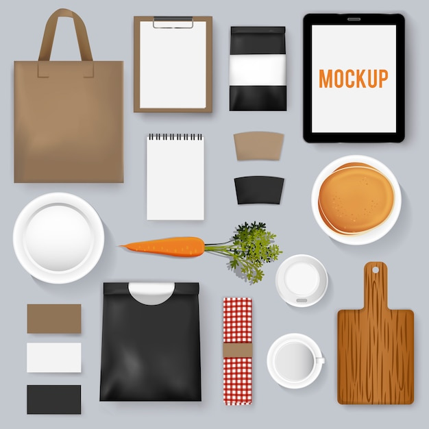 Mockup set collection coffee cafe vector illustration Free Vector