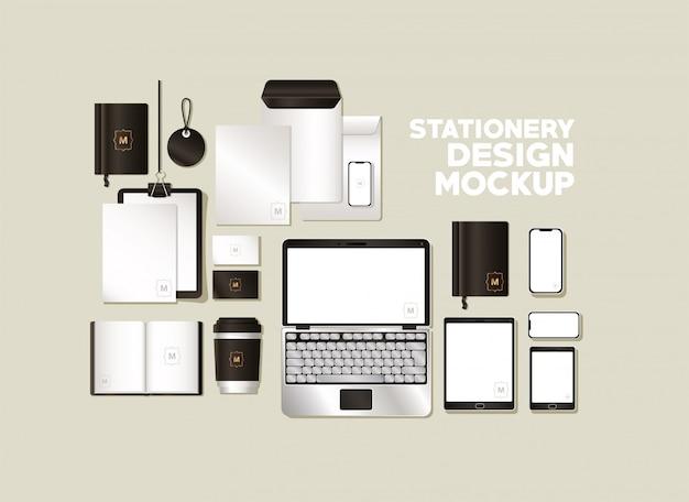 Набор мокапов с черным брендингом фирменного стиля и канцелярской тематики Premium векторы