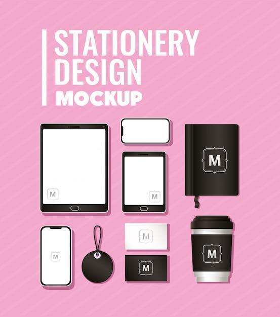 コーポレートアイデンティティと文房具のデザインテーマの黒のブランディングが設定されたモックアップ Premiumベクター