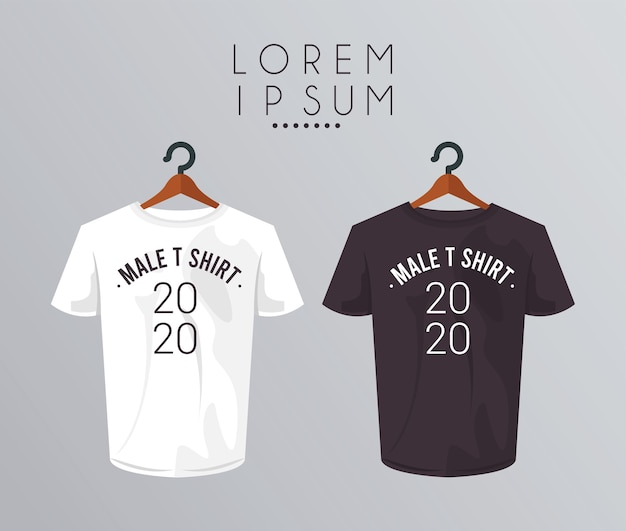 Mockup shirt in clothespin and 2020 number. Premium Vector