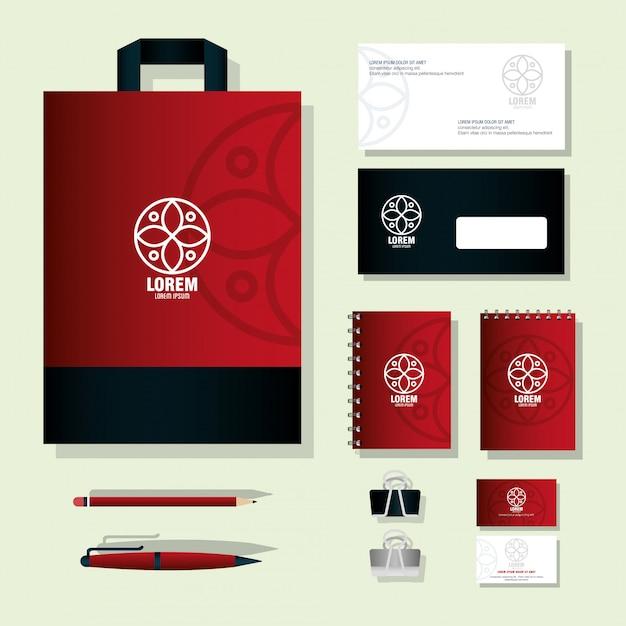 モックアップの文房具の供給、サイン白と赤、ブランドモックアップコーポレート・アイデンティティ Premiumベクター