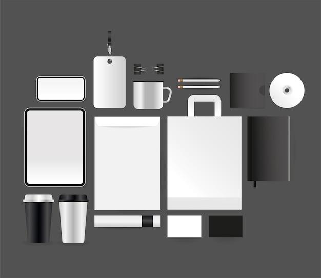 コーポレートアイデンティティテンプレートとブランディングテーマのモックアップタブレットスマートフォンエンベロープとバッグのデザイン Premiumベクター