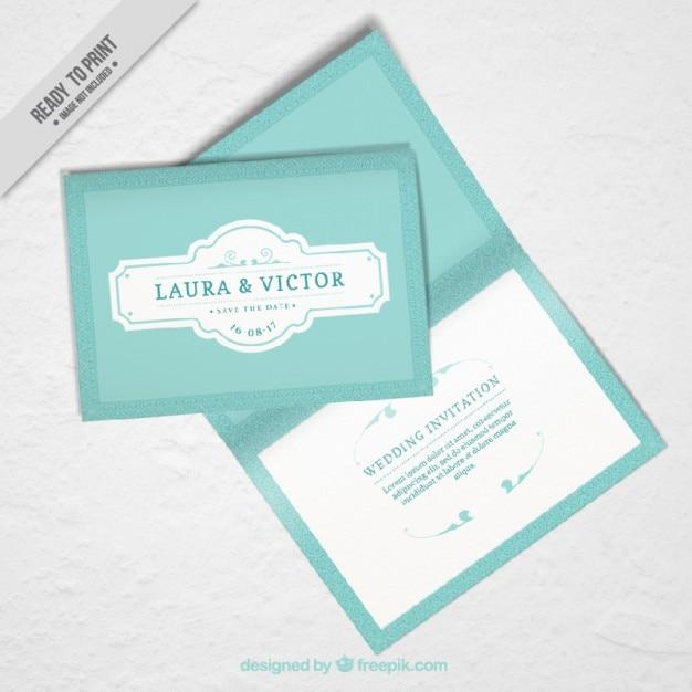 Mockup Of Wedding Invitation In Vintage Design Vector Free