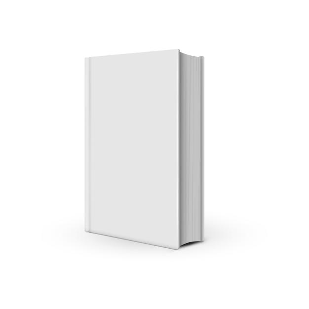 Mockup white book realistic on the white Premium Vector