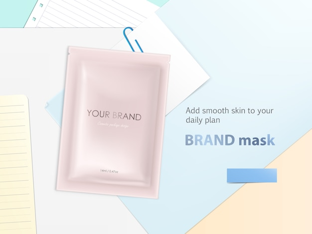 Mockup with disposable foil sachet, blank package with facial mask or shampoo Free Vector