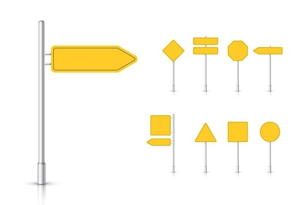 Mockup yellow traffic sign isolated Premium Vector