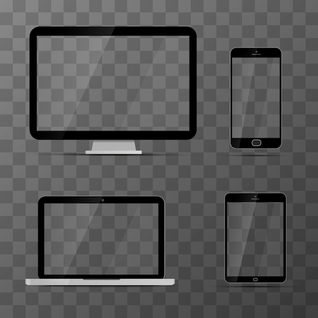 Mockups of monitor, laptop, black tablet and smartphone Premium Vector