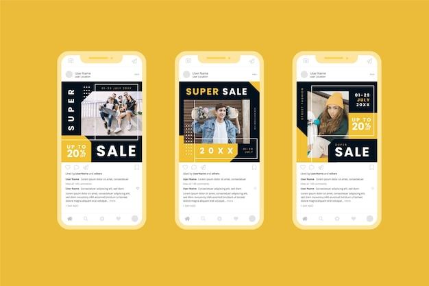 모델 산 판매 소셜 미디어 수집 무료 벡터