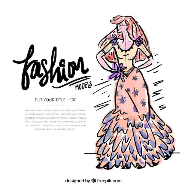دختر تصویر مدل با یک لباس بلند