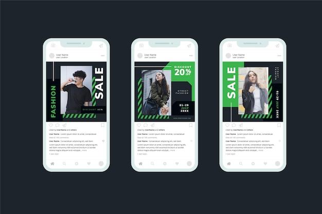Модель в черно-зеленой коллекции социальных сетей продажи Бесплатные векторы