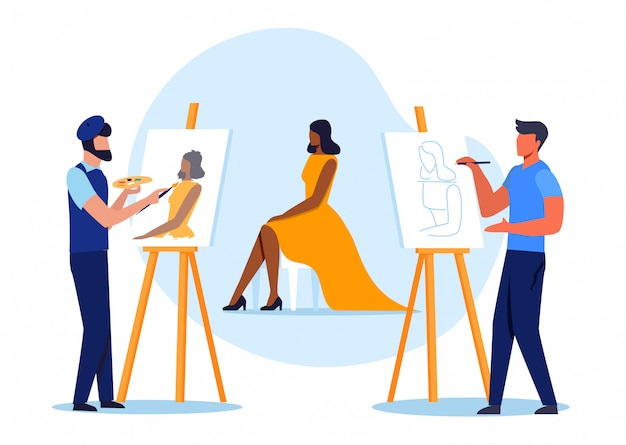 Model posing for painters flat vector illustration Premium Vector