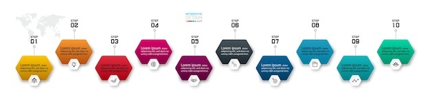 Model row of hexagonal shape design   steps can explain and guide the work process infographic Premium Vector