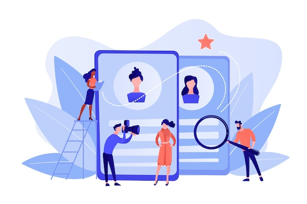 Modeling agency manager and photographer take photos of model for portfolio. modeling agency, fashion model agent, modeling company services concept. pinkish coral bluevector isolated illustration Free Vector